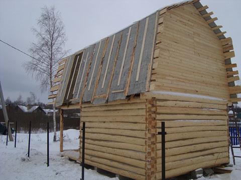 Баня 5 на 4 с верандой 2 метра под общей ломаной крышей